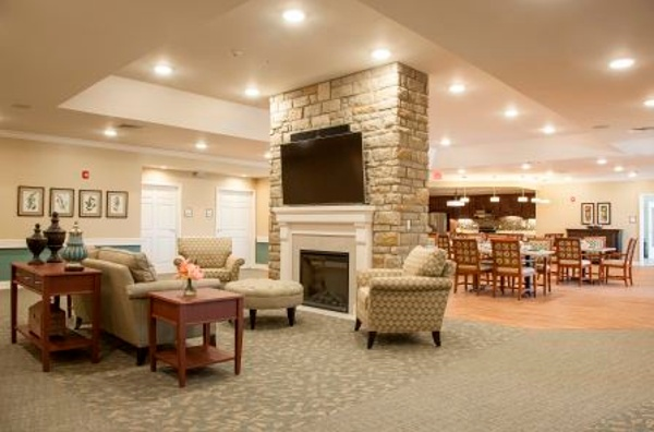 Fireplace and sitting area in our assisted living center