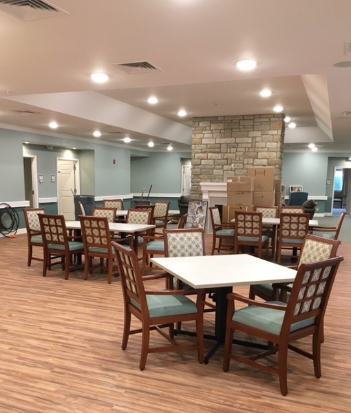 Chairs and tables in a common area