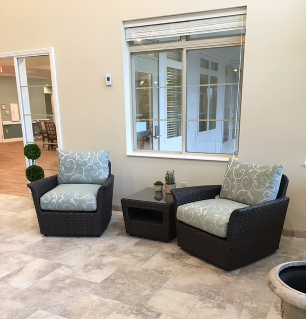 Two chairs outside of our assisted living center
