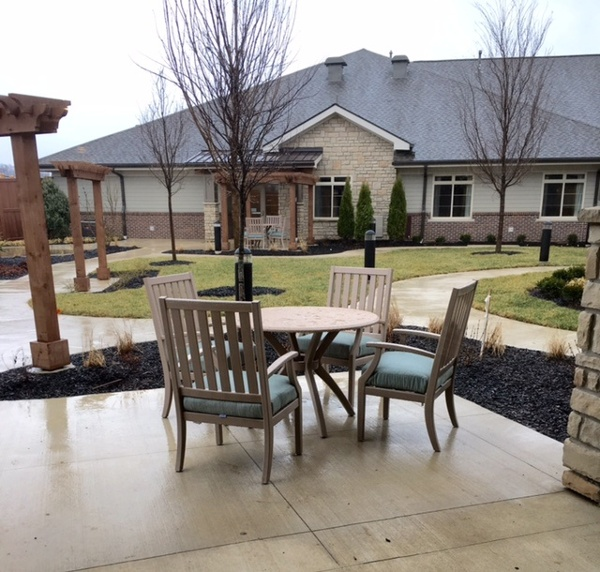 Table and chairs outside our assisted living center